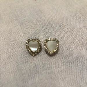 Pearl and crystal heart studs